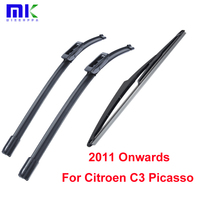 KIt Rubber Front And Rear Wiper Blade For Citroen C3 Picasso 2011 Onwards Windscreen Wiper Car
