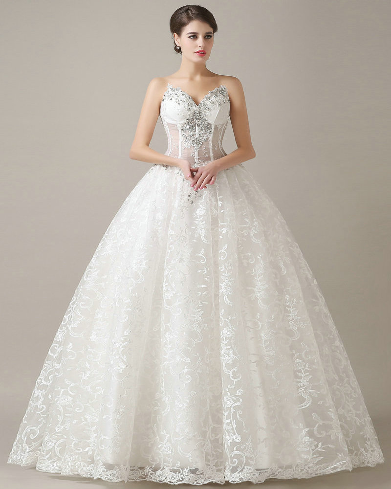 22969abbb359f REAL MODEL See Through Top Lace Wedding Dress 2017 Ball Gown Sweetheart  Corset Back vestidos de novia Bridal Dress No Train