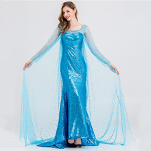 Queen Elsa Dresses Elsa Cosplay Costumes Princess Anna Blue Dress For Girls Party Vestidos Fantasia Adult Women Party Clothing