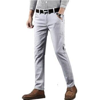 ae1035a57bd5 2019 Primavera Verano nuevos pantalones informales de negocios de algodón  para hombre pantalones ajustados de moda Pantalones de marca para hombre ...