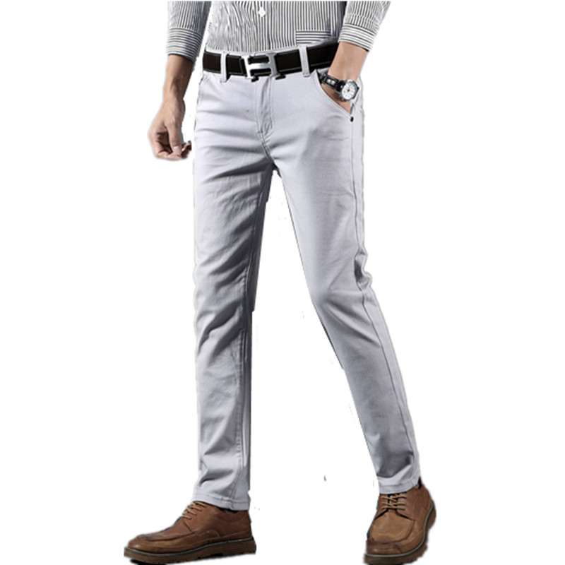 2019 Spring Summer New Business Casual Pants Men Cotton Slim Fit Chinos Fashion Trousers Male Brand Clothing Plus Size 28-38