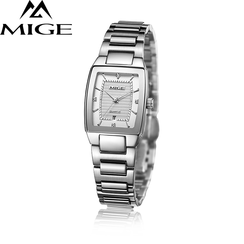 Mige 2017 Top Brand Mige Square Business Rustfritt Stål Band Hvit Japan Movement Lover Watch Water Resistant Women Watches