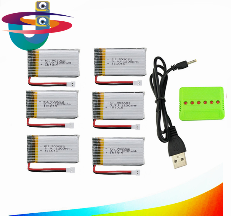 6 in 1 Charger Set with 6pcs 1200mAh Lipo Battery 3.7V for Syma X5SW X5SC RC Quadcopter 3pcs battery and charger with 1 care 3 conversion cable for syma x8sw x8sc rc quadcopter accessories battery