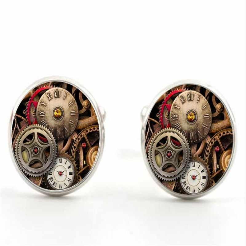 Мода ручной ретро стимпанк часы личность хрусталя Мужская футболка ювелирные запонки 20 мм