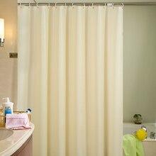 Купить с кэшбэком Beige Plastic Shower Curtain Eco-friendly Waterproof Mold Proof Solid PEVA Bathroom Curtains with Hooks Home Decor High Quality
