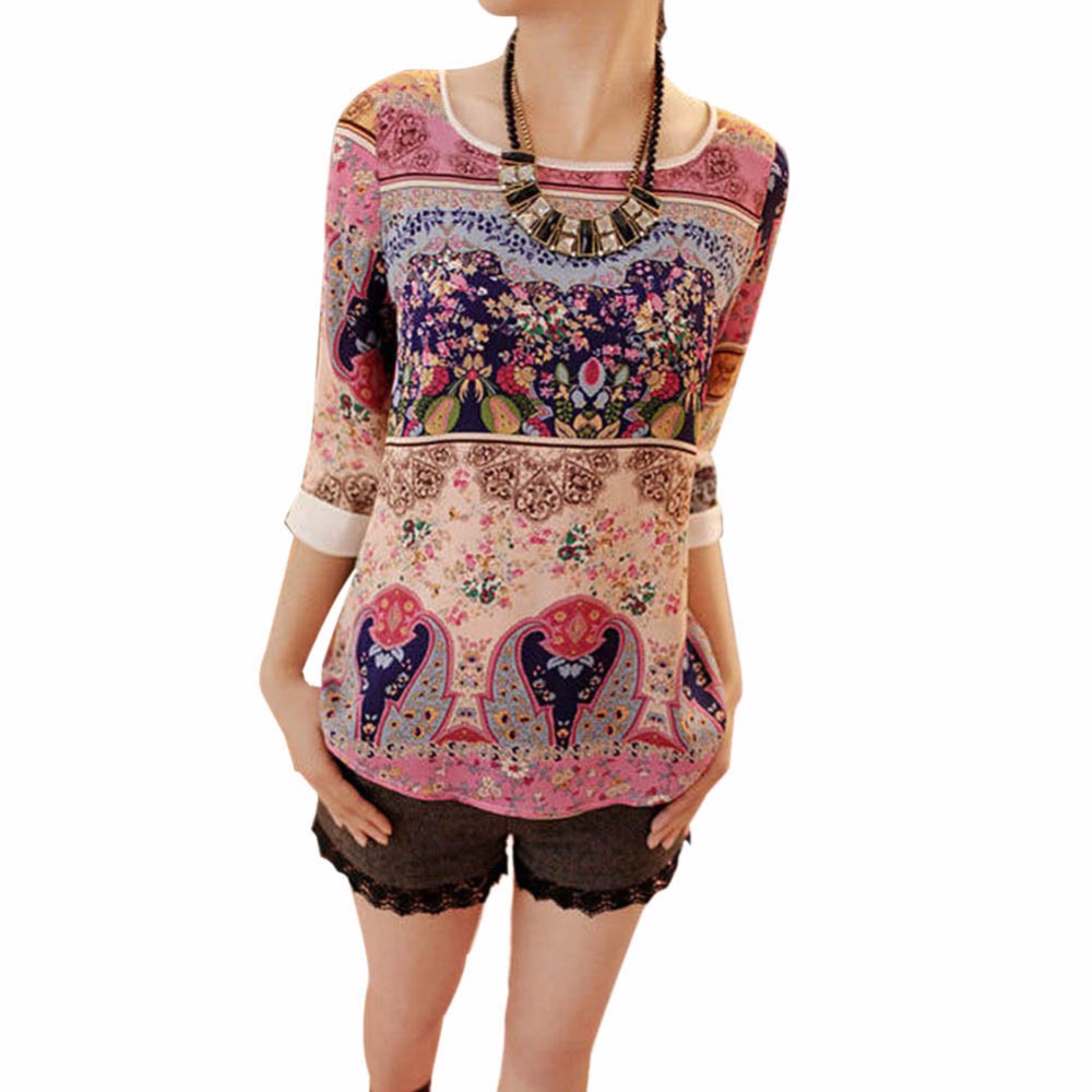 Summer Autumn 2017 Women Elegant Floral Three Quarter Puff Sleeve Shirt Floral Top Girl Casual Slim Blouse Size XXL
