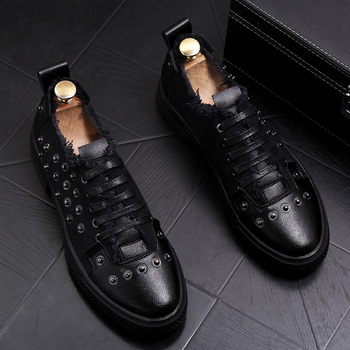 England style design men casual punk night club wear soft leather shoes youth breathable rivet shoe lace up sneaker sapatos male