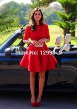 Dressgirl Rot Cocktailkleider 2017 A-line Hohen Kragen Halbarm Spitze Open Back Short Mini Homecoming Kleider