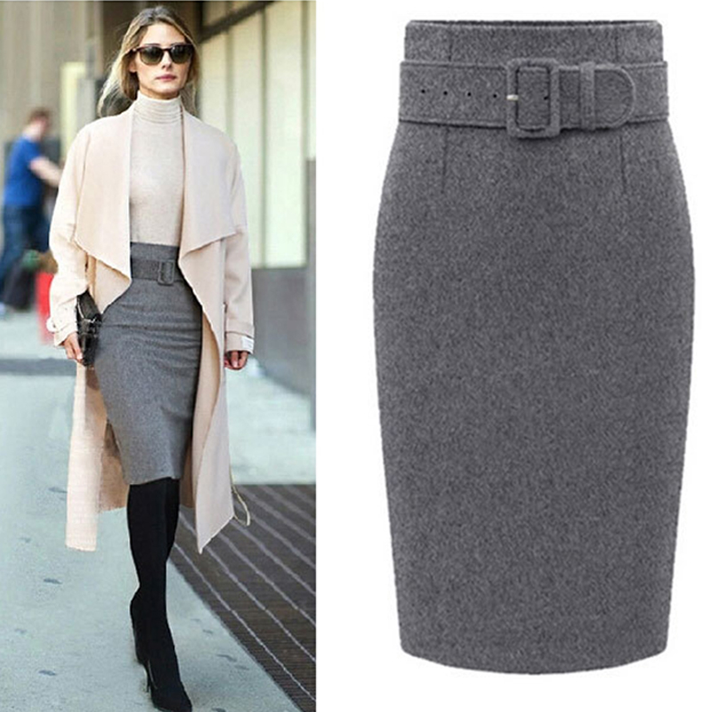 a2da183ca2 Women Autumn Winter Style Fashion Knee Length Skirt Ladies Front Sashes Girl  Pencil Skirts Femme Female Black Jupe 3XL 50-in Skirts from Women's  Clothing on ...