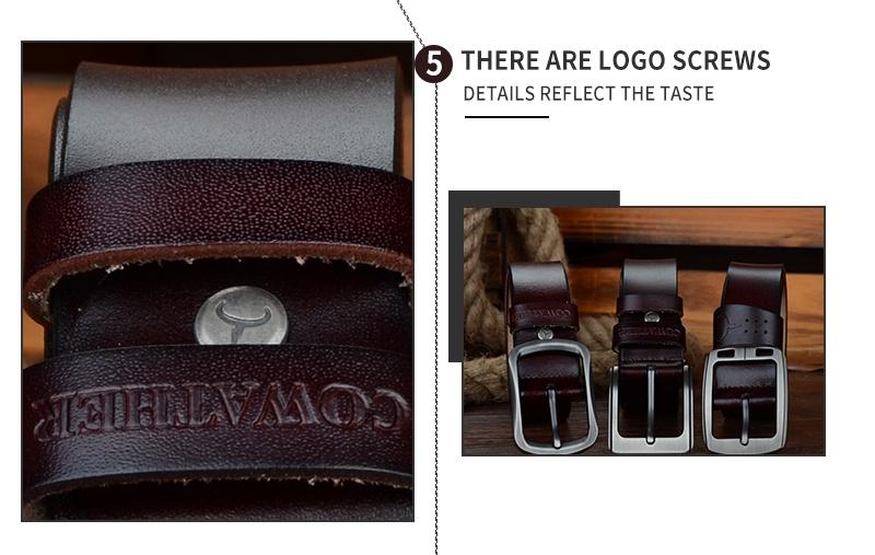 حزام COWATHER جلد طبيعي للرجال 15