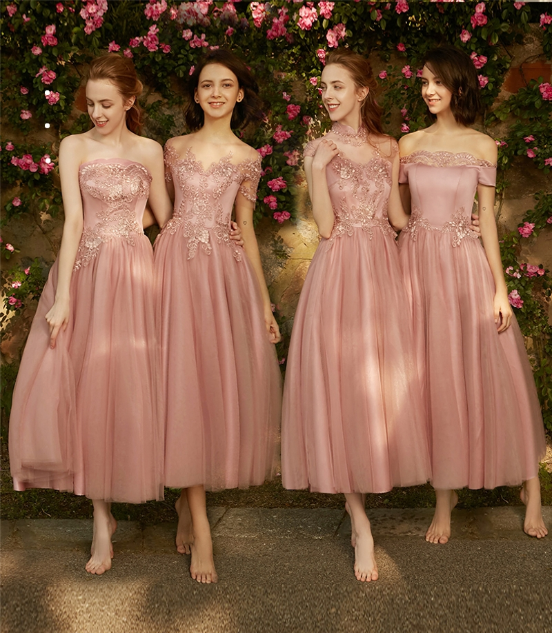 Charming Country Style Strapless Tulle Tea Length   Bridesmaid     Dresses   2019 Aplliques Wedding Party Maid Honor   Dresses   Vestiods
