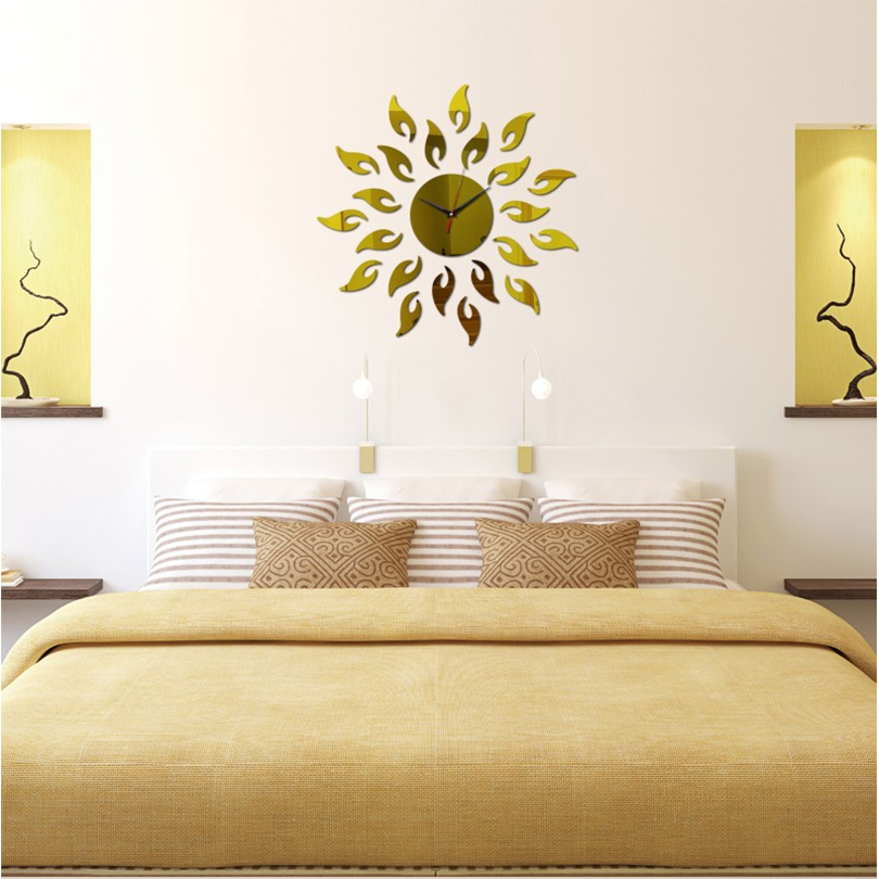 2017 hot acrylic mirror wall clock sticker large patterned stickers ...