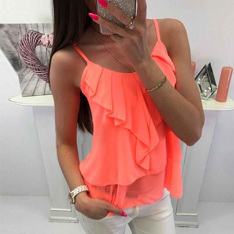2018 Hot Sell Women Summer Sexy Solid Color Deep V Neck Ruffles Sleeveless T Shirt Summer Casual Tees Summer Tops Summer Cloth
