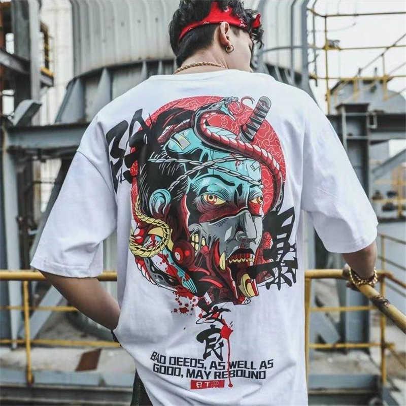 2019 casual solto diabo impressão tshirt streetwear camisa de algodão de alta qualidade dos homens