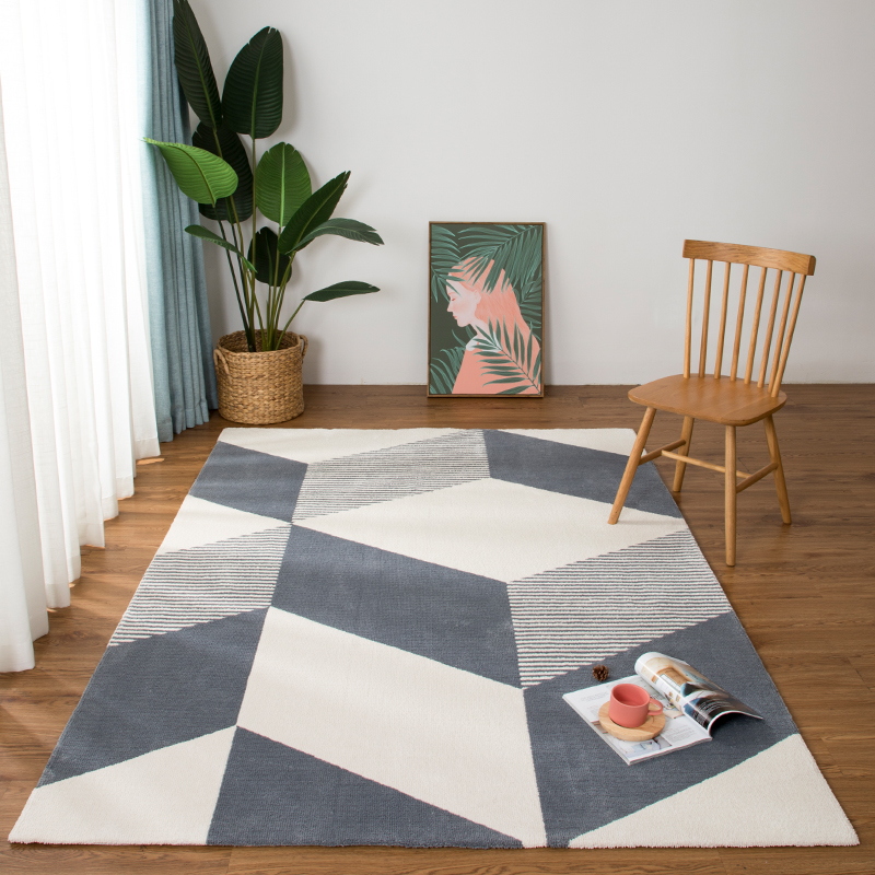 US $289.9  Nordic style gray geometric bedside carpet big size thicken  living room rug, rectangle decoration coffee table floor mat-in Mat from  Home & ...