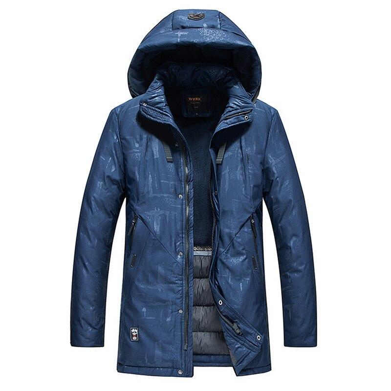 Men Jacket Warm Thick Mens Winter Parkas Long Coats with Hood for Leisure Male Print Parka Size L 3XL