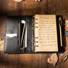 Yiwi Retro Business Genuine Leather Black  6 Loose leaf Organizer A6 Planner Diary