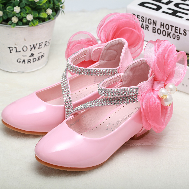 Fathion Big Pearl Bow Flower Girl PU Leather Shoes For Girls Party Dance Children Shoes Girls Princess High Heels Wedding Shoes