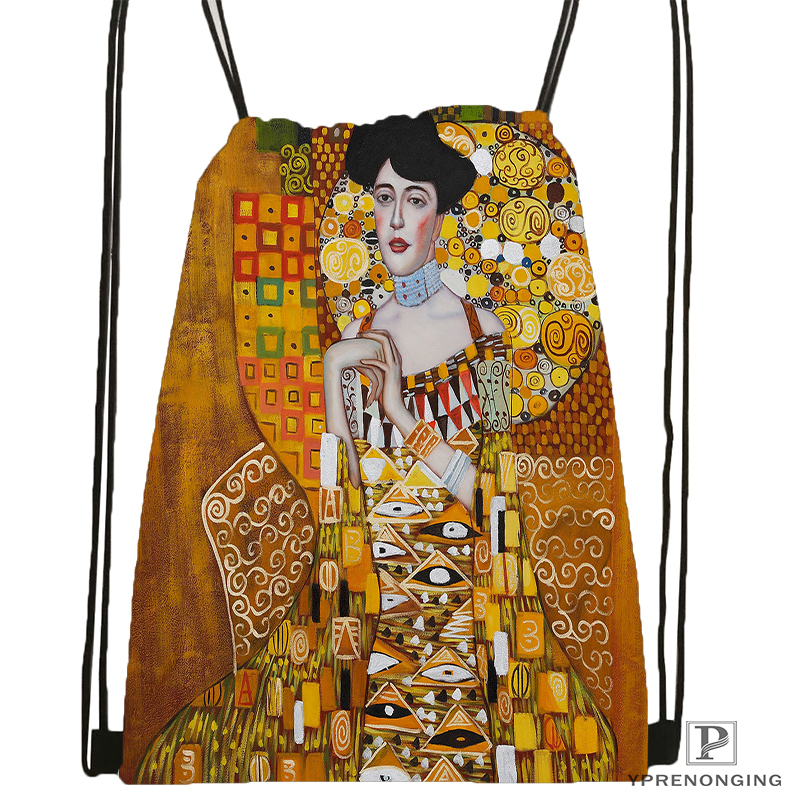 Custom Art Gustav Klimt#9 Drawstring Backpack Bag Cute Daypack Kids Satchel (Black Back) 31x40cm#180531-02-40
