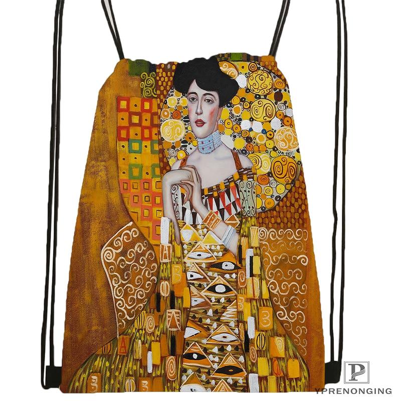 Custom Art Gustav Klimt#9 Drawstring Backpack Bag Cute Daypack Kids Satchel (Black Back) 31x40cm#180531-02-40
