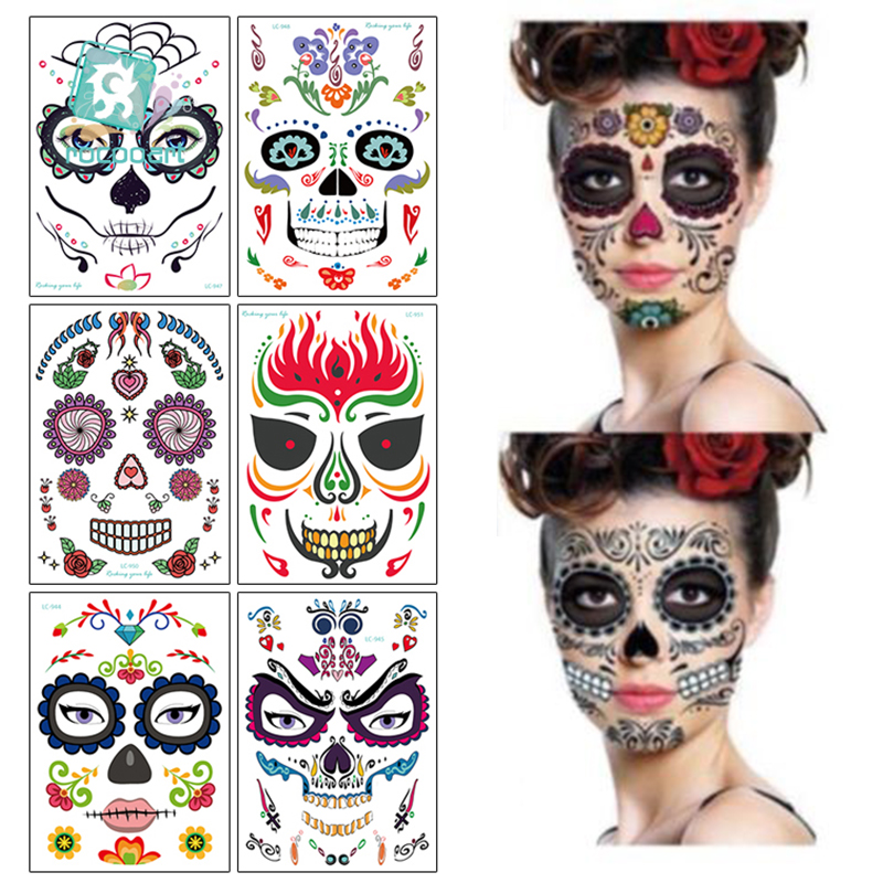 1Pcs Halloween Decor Tattoo Stickers Eco-friendly Waterproof Props Temporary Face Sticker Atmosphere Masquerade Tattoo