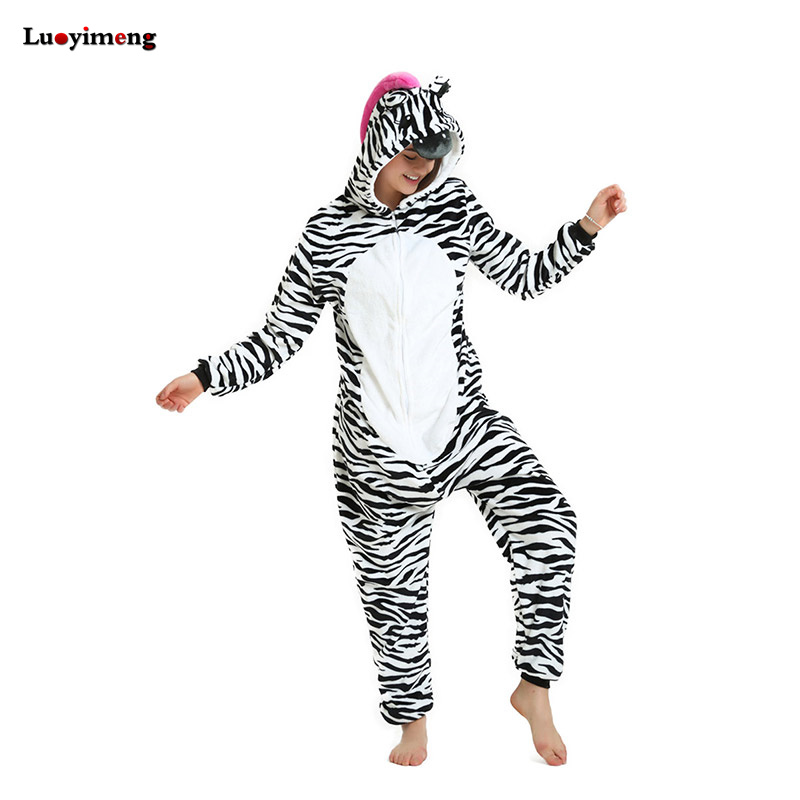 Zebra Unicorn Pajamas For Women Ladies Winter Cute Onesie Flannel Warm Hoodie Pyjama Adu ...