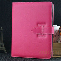 Luxe Litchi Patroon Smart Leather Stand Cover voor ipad Mini 1/Mini 2 3 Retina Slaap Wakker Skin Case Met Riem Hand houder