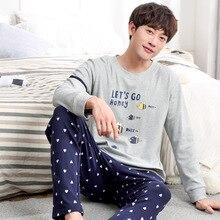 Мужские весенние и осенние корейские Молодежные пижамы большого размера хлопковый зимний костюм с длинным рукавом пижамные комплекты мужские пижамы