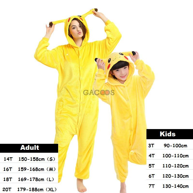 2019 Winter Pikachu Pajamas Sleepwear For Girls Boys Kigurumi Panda Stitch Onesies Flannel Pyjamas Kids Children Licorne Pajamas