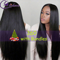 Mink Brazilian Hair Straight weave 360 Lace Frontal With Bundle 8A Straight Brazilian Hair Pre Plucked 360 Frontal With Bundles