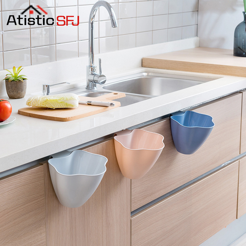 Atistic SFJ Hanging Accessories Kitchen Accessories Organizer Plastic Household Cleaning Tools Waste Garbage Trash Can Bin