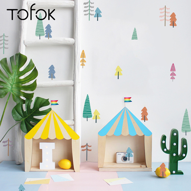 Tofok 18pcs/set Cartoon Sapling Cute Wall Stickers Nursery Children Room Wall Decals Nordic Simple Style Home Decor Hot Sale