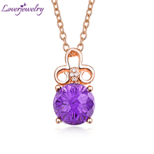 Loving Purple Amethyst Pendant Necklace 18K Rose Gold Natural Diamond Fine Jewelry for Girlfriend Birthday Gift Wholesale
