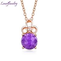 Loving Purple Amethyst Pendant Necklace 18K Rose Gold Natural Diamond Fine Jewelry for Girlfriend Birthday Gift Wholesale