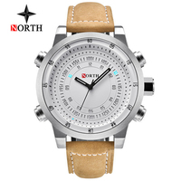NORTH Top Brand Luxury Mens Watches Quartz Leather Army Military Men Watch Waterproof Casual Relogio Masculino