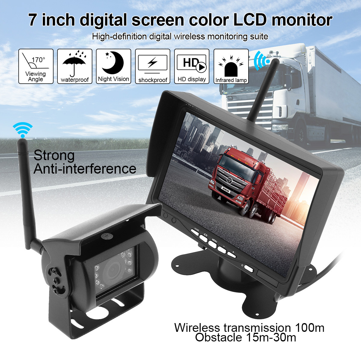 7 Inch HD TFT LCD Wireless Car Rear View Monitor + Waterproof Night Vision Vehicle Backup Rearview Camera System for Truck Bus 2 4ghz wireless 4 3 car vehicle rearview mirror monitor w 7 led night vision camera pal ntsc