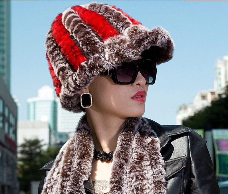 2017 Rushed New Arrival Striped Adult Dl-10812 Wholesale Rex Rabbit Hair Fur Hat Visor Cap Millinery Winter Knitted Crownless
