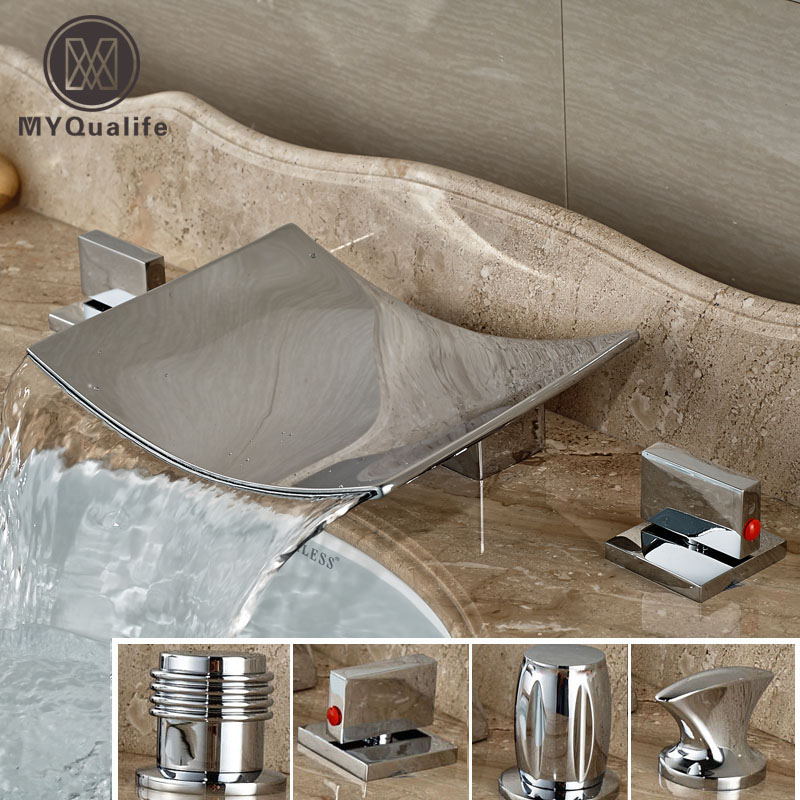 4-Style Dual Handle Three Holes Bathroom Sink Basin Faucet Waterfall Deck Mounted Bathtub Mixer Taps newly dual handle godlen waterfall bathroom basin sink faucet deck mount 3 holes