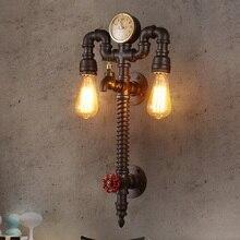 ロフト産業ヴィンテージウォールライト器具ホーム時計と腕時計水道管ランプエジソン壁燭台屋内照明