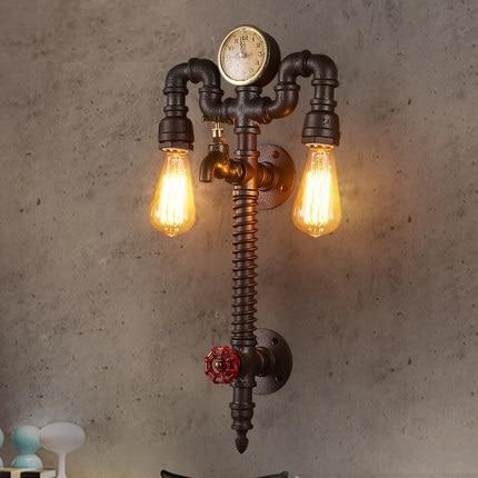 Loft Style Industrial Vintage Nástěnné svítidlo pro domácí hodiny a hodinky Lampa na vodní trubky Edison Wall Sconce Indoor Lighting