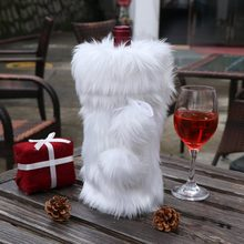 OurWarm White Christmas Decorations Luxury Faux Fur Wine Bottle Cover Bags  33x17cm Wine Bag New Home Decoration Accessories 36a6788e413df