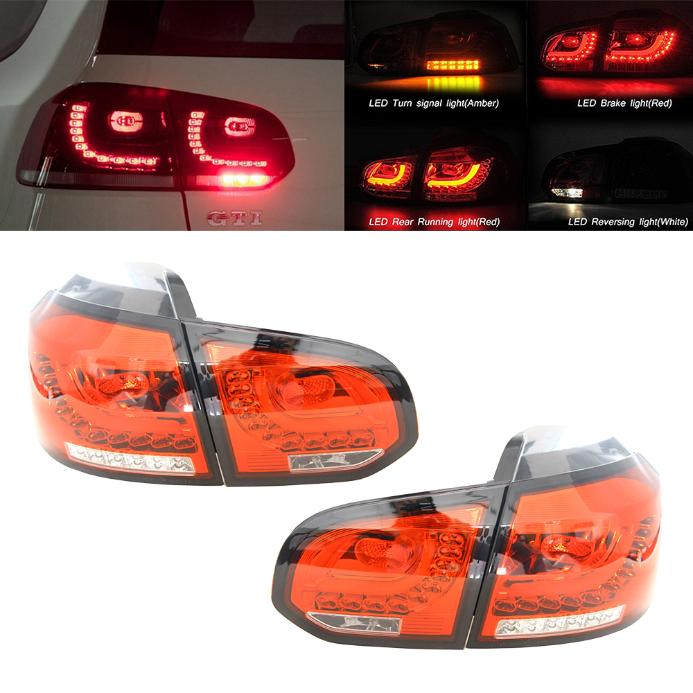 Car Styling Tail Lamp Rear Runing Lamp for VW GOLF 6 MK6 R20 GTI Red Lens 3D LED Brake Reverse Lights DRL+Brake+Park Stop Lamp diy optic fiber light kit led light optical fibres 16w rgb color change ir control star ceiling light pack 0 75mmx2mx200pcs