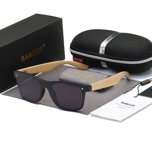 BARCUR 2018 Black Sunglasses Bamboo Glasses Handmade Flat Lens ...