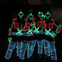 Сцена костюмы Костюмы костюм с подсветкой el Провода Одежда для танцев Волокно оптические одежда Бесплатная доставка