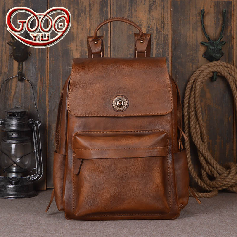Europe and the United States fashion retro hand-rubbed backpack Men's tanned head layer leather travel large-capacity backpack europe and the united states simple geometric pattern hand bag head layer of leather in the long wallet multi card large capacit