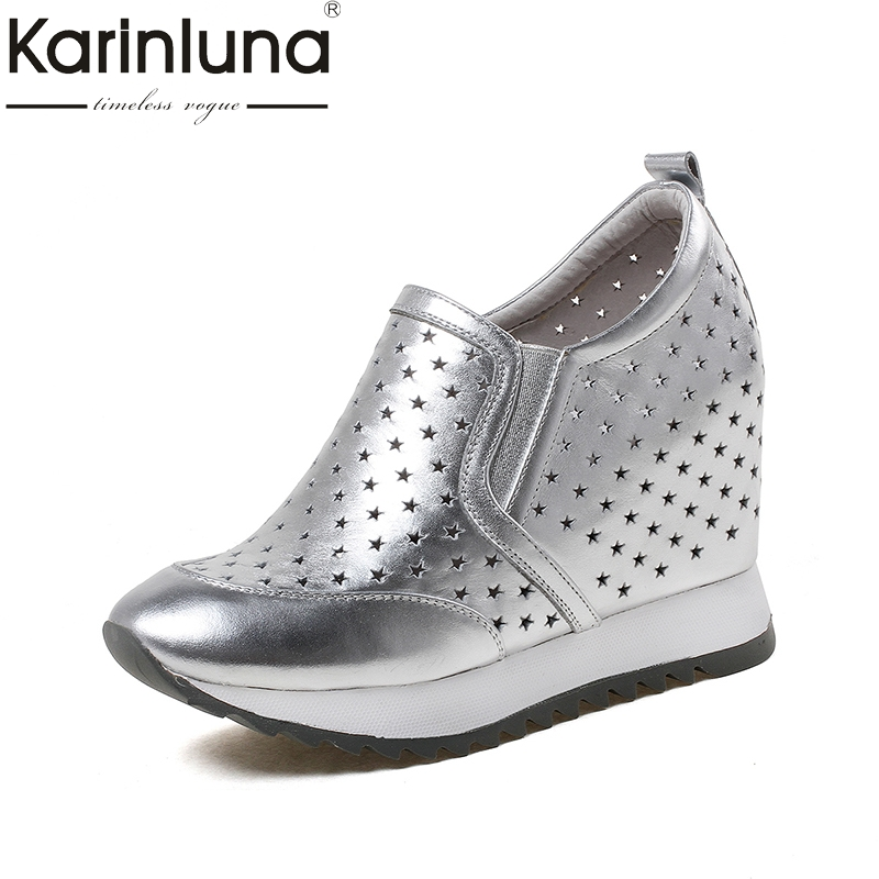 KarinLuna 2018 New large size 33-40 genuine leather wedge high heels Platform pumps Woman slip on woman Shoes Footwear nayiduyun women genuine leather wedge high heel pumps platform creepers round toe slip on casual shoes boots wedge sneakers