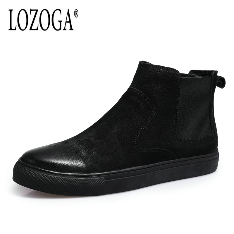 LOZOGA New Men Chelsea Boots Autumn Winter Retro Cow Leather Black Ankle Boots Slip-On Mens Casual Shoes Round Toe Flat Boots lozoga new men shoes fashion boots ankle 100