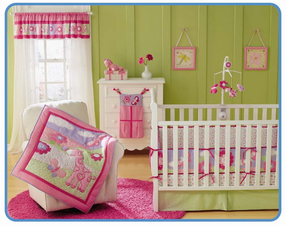 Lovely Pink 100 Cotton Embroidered Erfly Giraffe Baby Cot Crib Bedding Set Include Quilt Per Skirt Mattress Cover