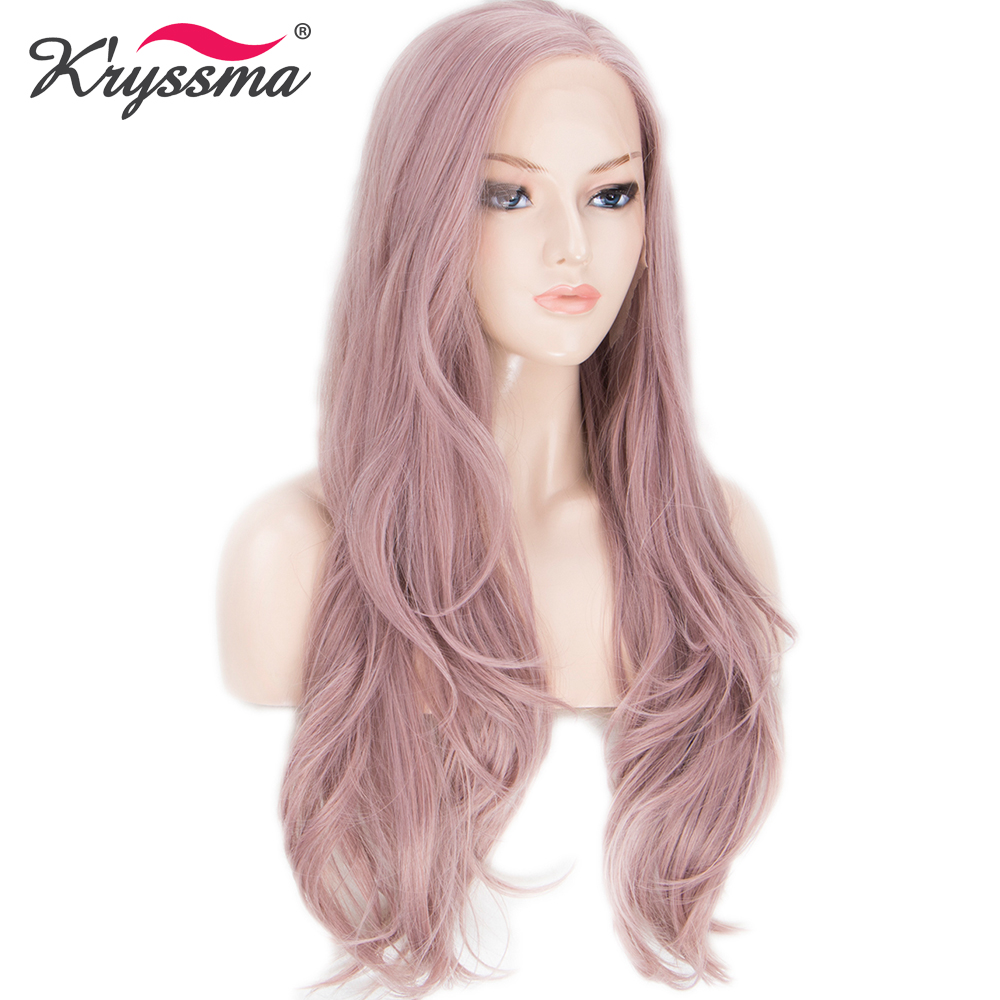 Ash Pink Synthetic Lace Front Wig Long Wavy Wigs for Women 22 Inches Light Pink Natural