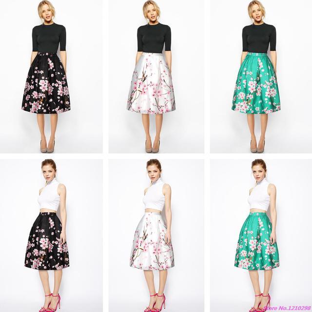 2018 Summer Peach Women Skirts 3D Print Peach Blossom Floral Vintage High  Waist Midi Skirt Vintage Knee Length Saias BSQ011 ecad52870187